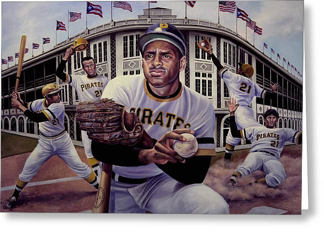 Roberto Clemente. Pittsburgh Pirates Paintings Greeting Cards - Roberto Greeting Card by Frederick Carrow