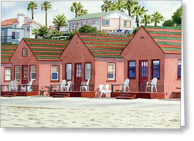 Best Sellers -  - California Beach Greeting Cards - Roberts Cottages Oceanside Greeting Card by Mary Helmreich