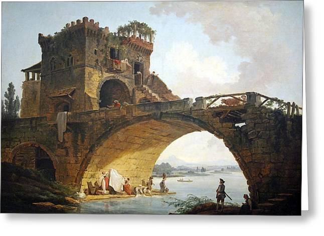 Robert; Hubert (1733-1808) Greeting Cards - Roberts The Ponte Salario Greeting Card by Cora Wandel