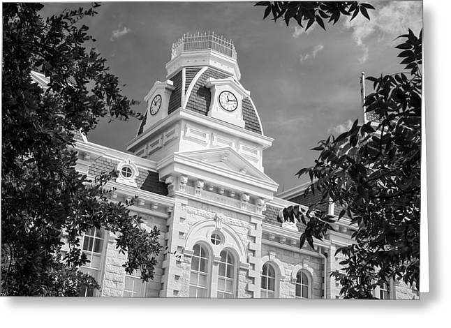 Cupola Greeting Cards - Robertson County Courthouse BW Greeting Card by Joan Carroll