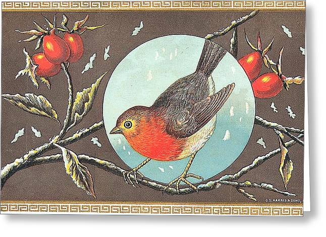 Label Digital Greeting Cards - Robin Cigar Label Greeting Card by Label Art