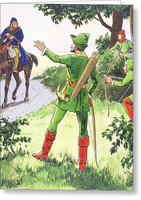 Legendary Greeting Cards - Robin Hood, From Peeps Into The Past Greeting Card by Trelleek