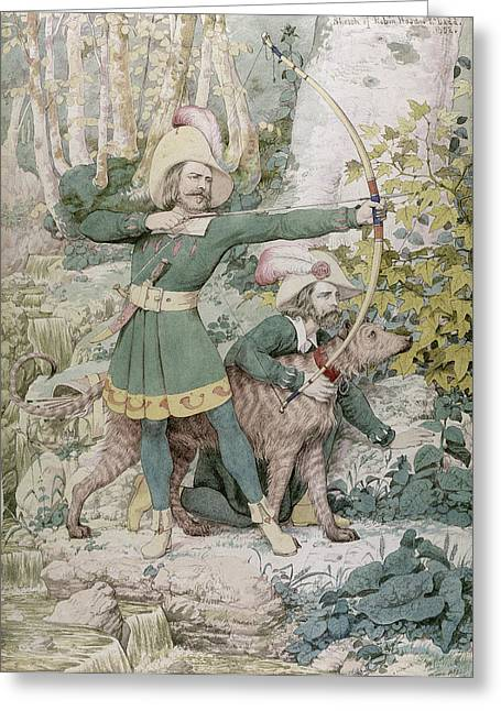 Aiming Greeting Cards - Robin Hood Greeting Card by Richard Dadd