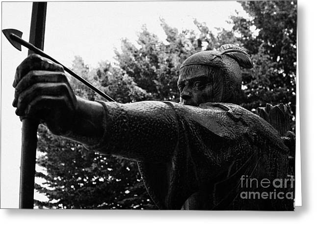 Nottingham Greeting Cards - Robin Hood statue close up castle green castle road nottingham england Greeting Card by Joe Fox
