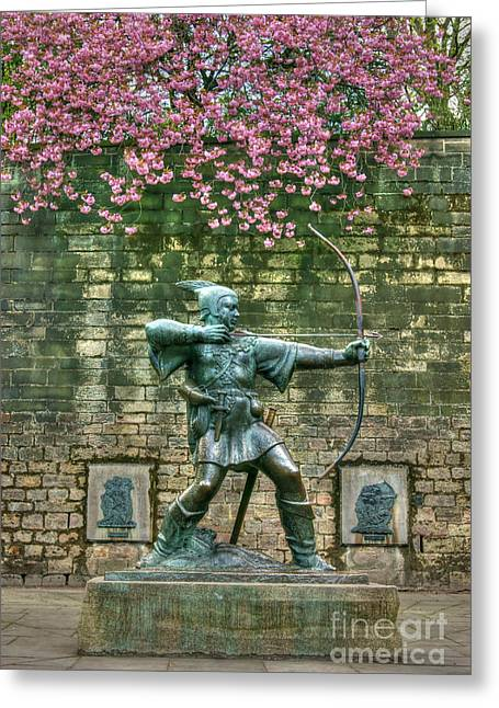 David Birchall Greeting Cards - Robin Hood Statue Greeting Card by David Birchall