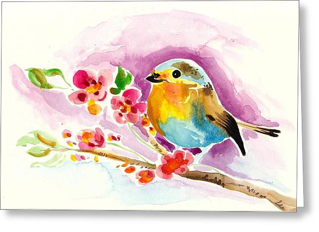 Cherry Blossoms Paintings Greeting Cards - Robin in Flowers Greeting Card by Tiberiu Soos