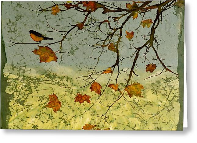 Robin In maple Greeting Card by Carolyn Doe