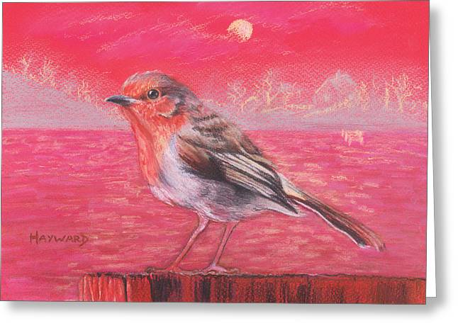 Lilac Pastels Greeting Cards - Robin in Red Landscape Greeting Card by Lucy Hayward