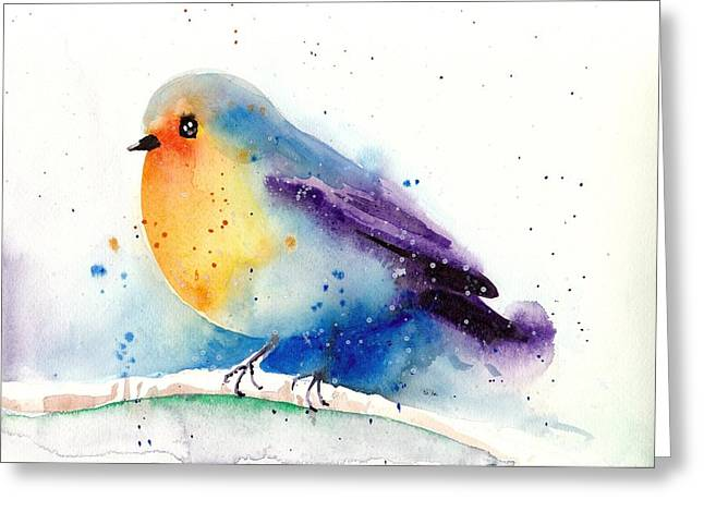 Hiver Greeting Cards - Robin in Snow - Winter Art Bird Greeting Card by Tiberiu Soos