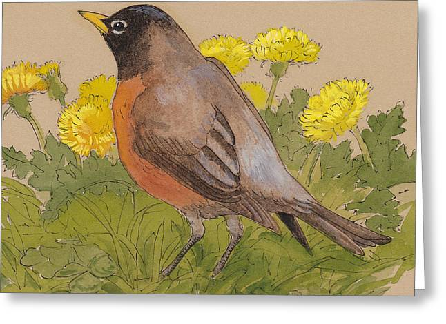 Robin In The Dandelions Greeting Card by Tracie Thompson