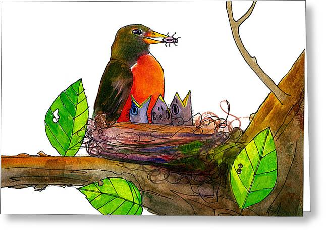 Flora And Fauna Greeting Cards - Robin Love Bug Greeting Card by Blenda Studio