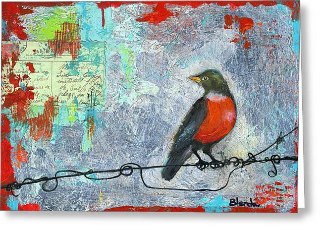 Robin Greeting Cards - Robin Love Letter  Greeting Card by Blenda Studio