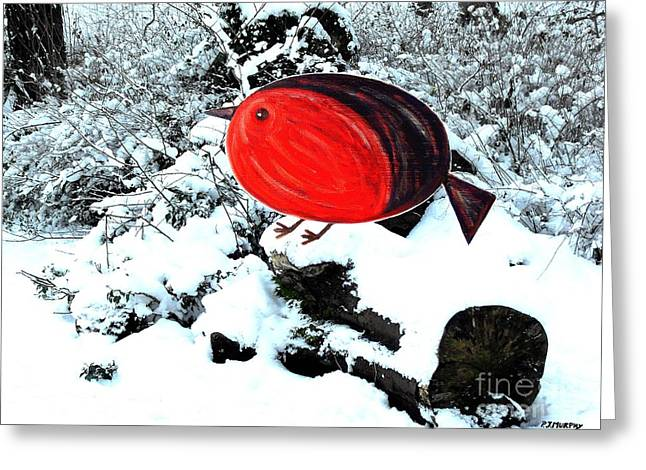 Winter Prints Mixed Media Greeting Cards - Robin On A Christmas Log Greeting Card by Patrick J Murphy