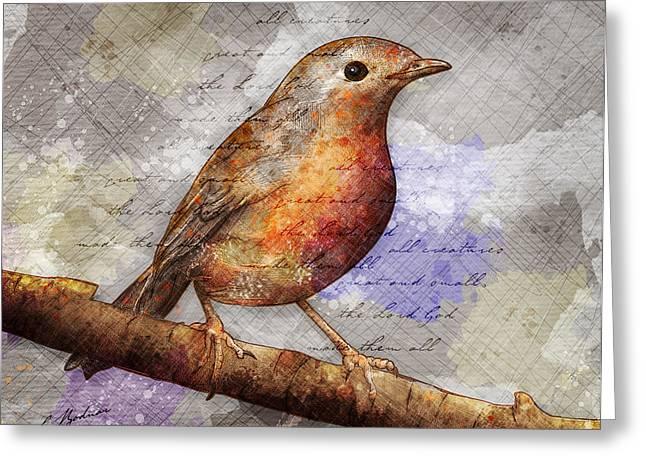 Robin On Branch Greeting Card by Gary Bodnar