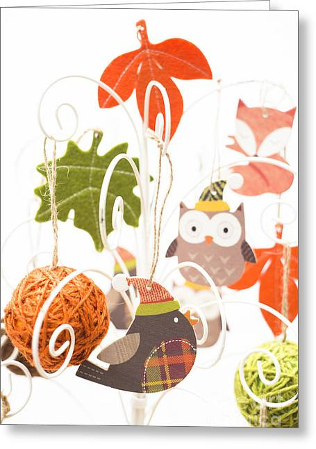 Green Hat Art Greeting Cards - Robin Owl Fox Greeting Card by Anne Gilbert