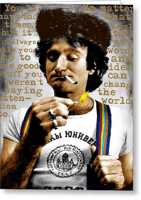 Suicide Mixed Media Greeting Cards - Robin Williams and Quotes 2 Greeting Card by Tony Rubino
