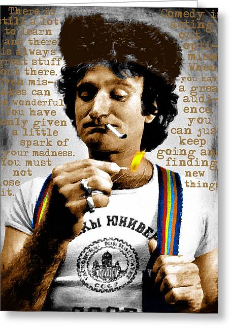 Comedian Mixed Media Greeting Cards - Robin Williams and Quotes Greeting Card by Tony Rubino