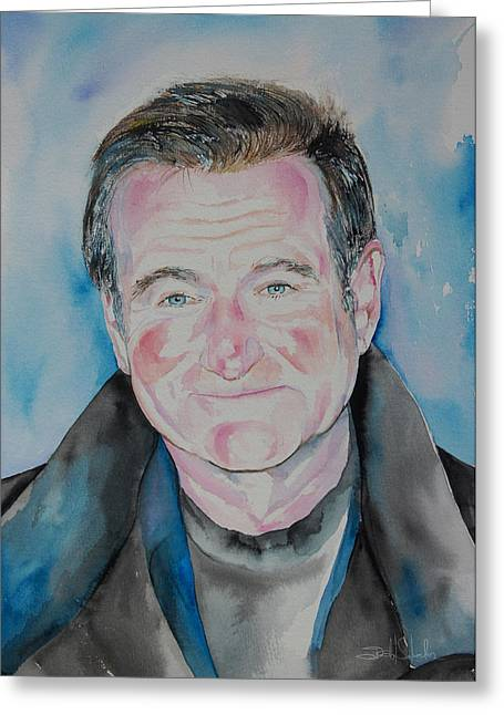Award Drawings Greeting Cards - Robin Williams Greeting Card by Isabel Salvador
