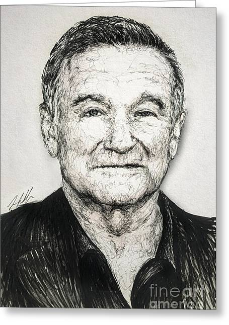 Doubting Greeting Cards - Robin Williams Greeting Card by Michael  Volpicelli