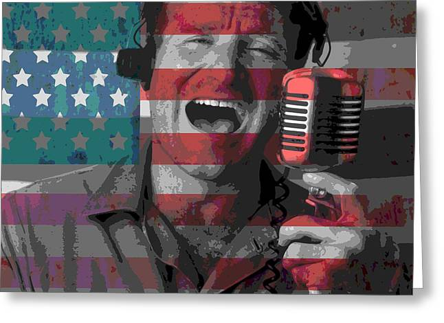 Robin Mixed Media Greeting Cards - Robin Williams Tribute Good Morning Vietnam Greeting Card by Dan Sproul