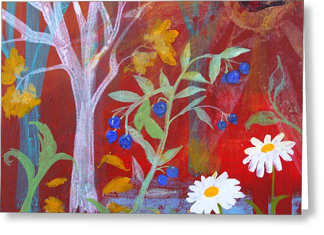 Berry Greeting Cards - Robins Blueberry Daisy Sunshiny Day Greeting Card by Robin Maria  Pedrero