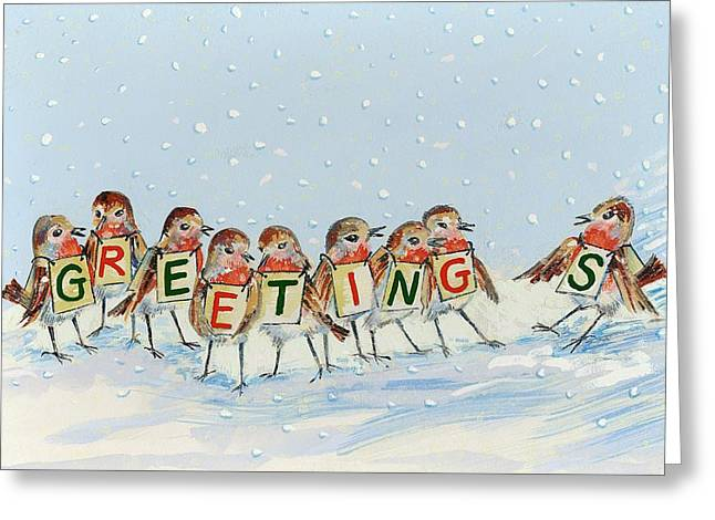Robins Late Arrival Greeting Card by David Cooke