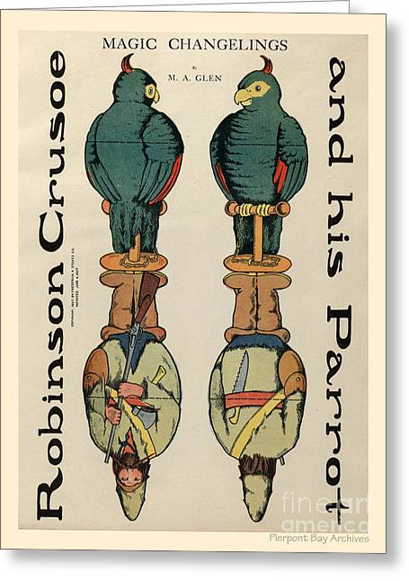 1907 Greeting Cards - Robinson Crusoe and his Parrot. Magic Changelings by M. A. Glenn Greeting Card by Pierpont Bay Archives