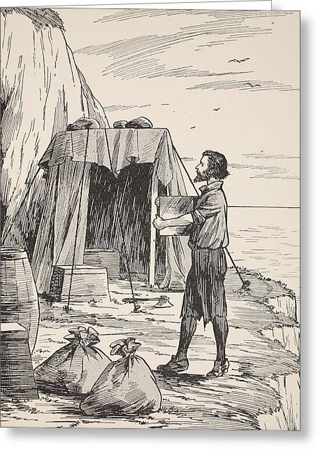 Ashore Greeting Cards - Robinson Crusoe building his shelter Greeting Card by English School