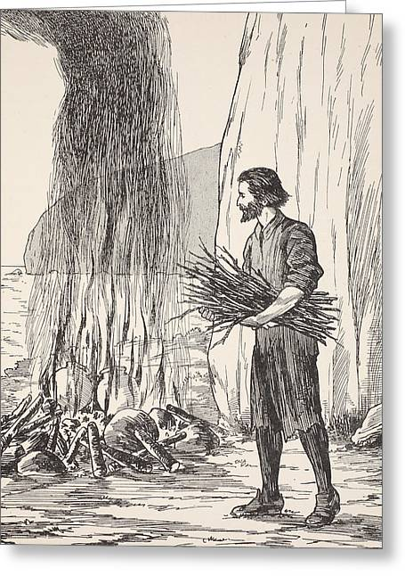 Ocean Shore Drawings Greeting Cards - Robinson Crusoe cooking Greeting Card by English School