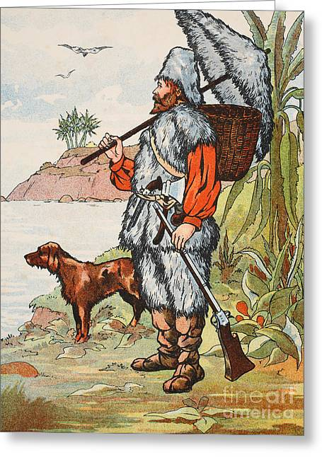 Dog Owner Drawings Greeting Cards - Robinson Crusoe Greeting Card by English School