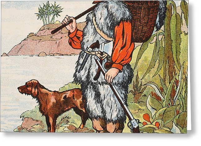 Robinson Crusoe Greeting Card by English School