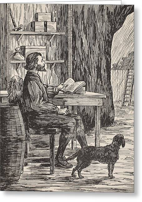 Dog Owner Drawings Greeting Cards - Robinson Crusoe in his cave Greeting Card by English School