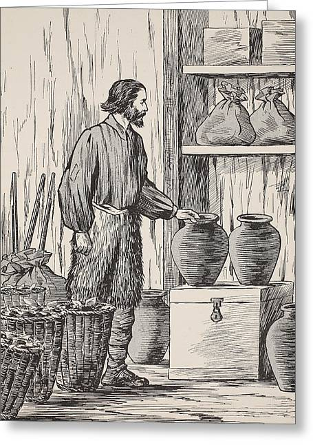 Ashore Greeting Cards - Robinson Crusoe in his storeroom Greeting Card by English School