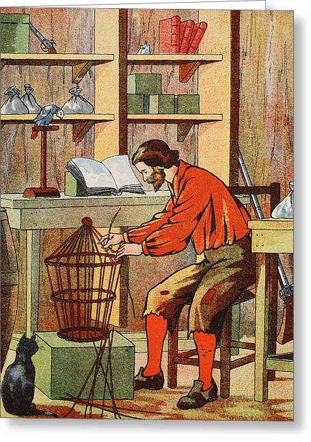 Lost Drawings Greeting Cards - Robinson Crusoe making a cage for his parrot Greeting Card by English School