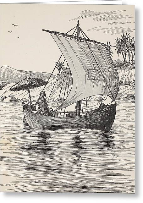 Ashore Greeting Cards - Robinson Crusoe on his boat Greeting Card by English School