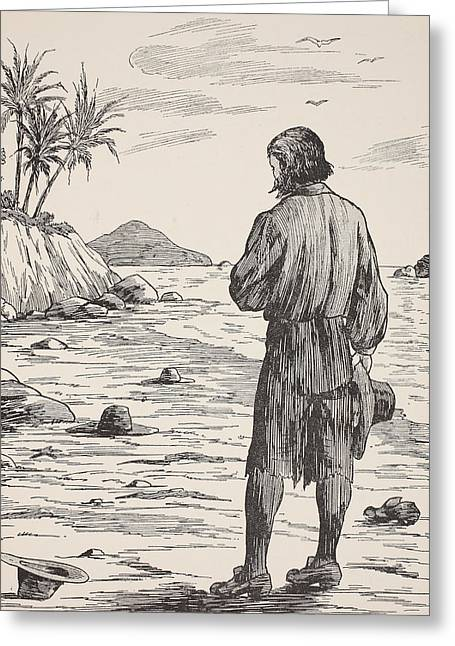 Ocean Shore Drawings Greeting Cards - Robinson Crusoe on his island Greeting Card by English School