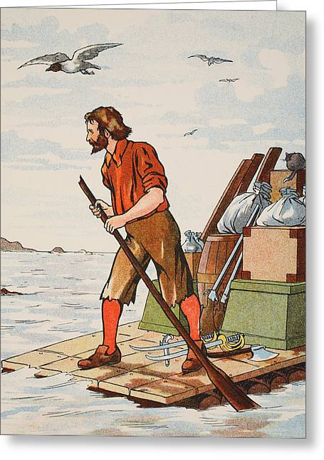 Ashore Greeting Cards - Robinson Crusoe on his raft Greeting Card by English School