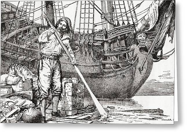 Raft Greeting Cards - Robinson Crusoe Rowing To Safety On A Raft After Being Shipwrecked.  From Adventures Of Robinson Greeting Card by Bridgeman Images