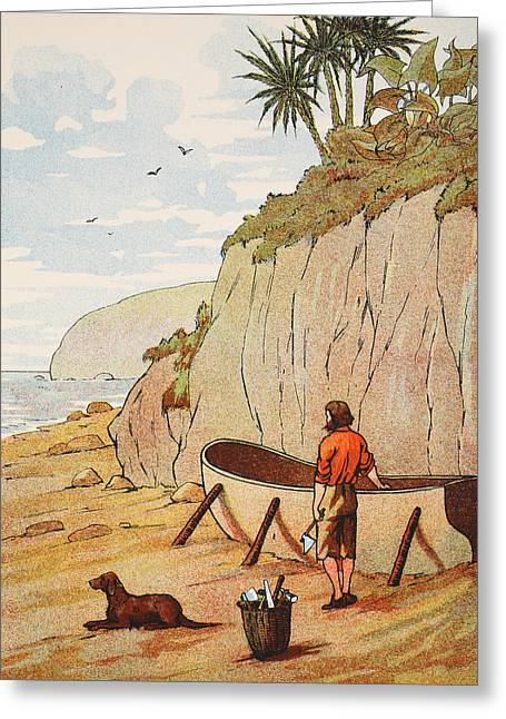 Lost Drawings Greeting Cards - Robinson Crusoes canoe Greeting Card by English School