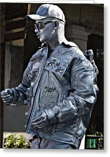 Silver City Greeting Cards - Robo Man Greeting Card by Steve Harrington