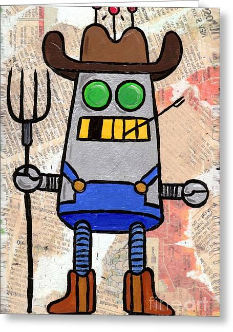 Overalls Drawings Greeting Cards - Robot Farmer Greeting Card by Lucas T Antoniak