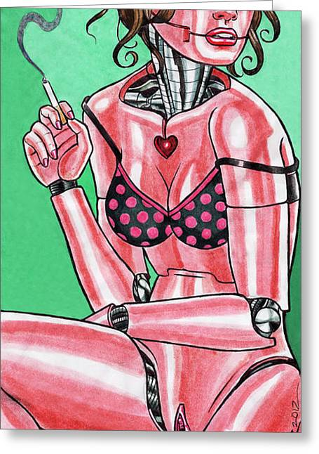 Prison Paintings Greeting Cards - Robot Girl No. 2 Greeting Card by David Shumate