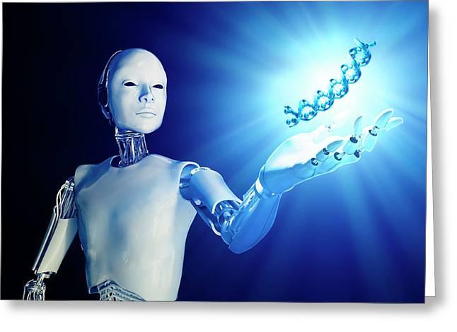 Robot Holding Dna Greeting Card by Andrzej Wojcicki