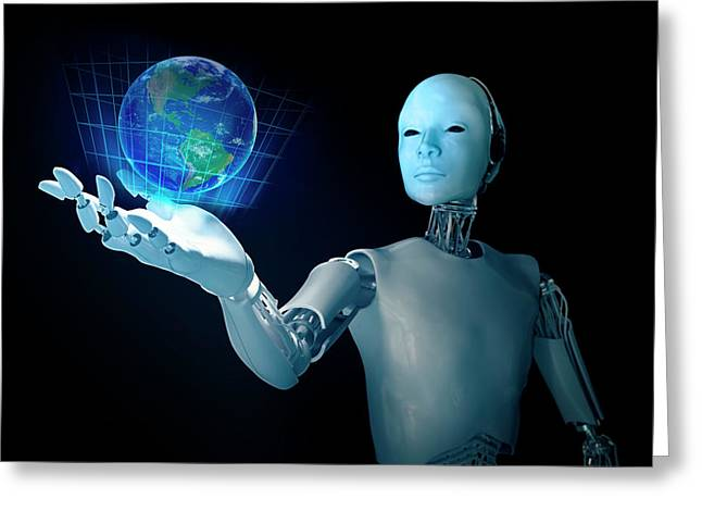 Robot Holding Earth Greeting Card by Andrzej Wojcicki