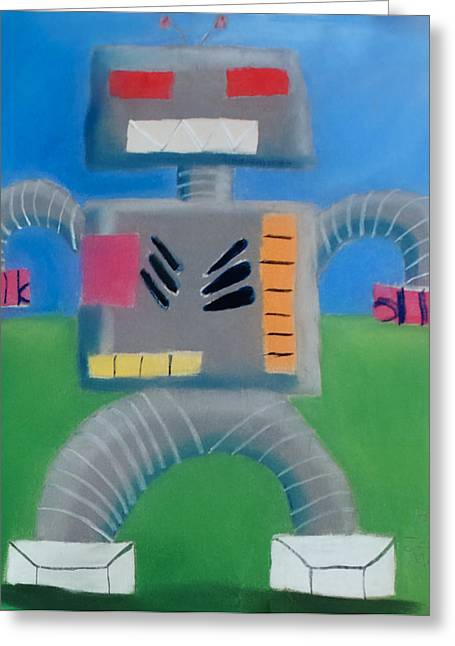 Mechanical Pastels Greeting Cards - Robot Greeting Card by Joshua Maddison