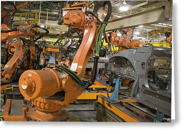 Robot On Car Assembly Production Line Greeting Card by Jim West