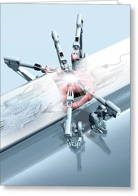 Robotic Arms Operating On A Patient Greeting Card by Victor Habbick Visions