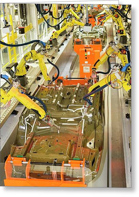 Robotic Car Production Line Greeting Card by Jim West