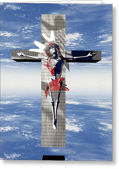 Martyrdom Greeting Cards - Robotic Christ made in Spain Greeting Card by Joaquin Abella