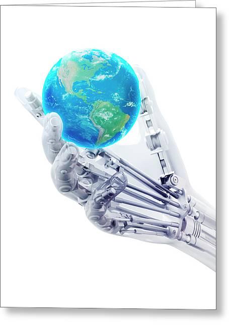 Robotic Hand And Globe Greeting Card by Andrzej Wojcicki